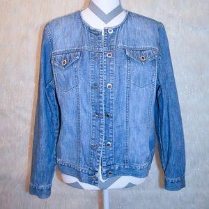 Ann Taylor Petite Jean Jacket Size L